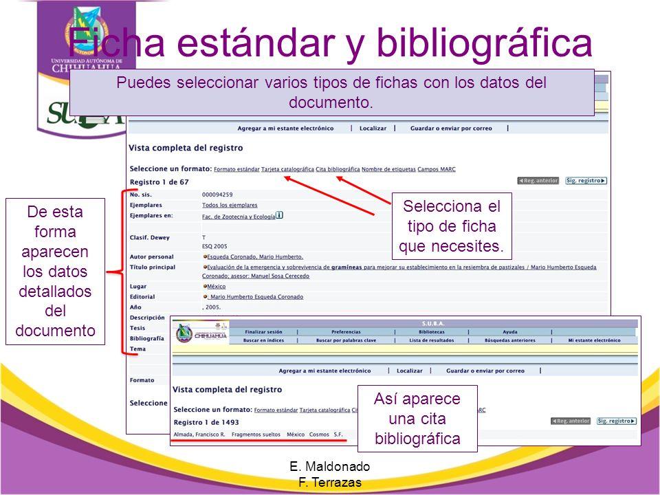 Ficha estándar y bibliográfica