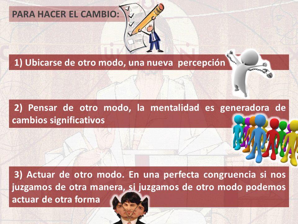 PARA HACER EL CAMBIO: 1) Ubicarse de otro modo, una nueva percepción. 2) Pensar de otro modo, la mentalidad es generadora de cambios significativos.