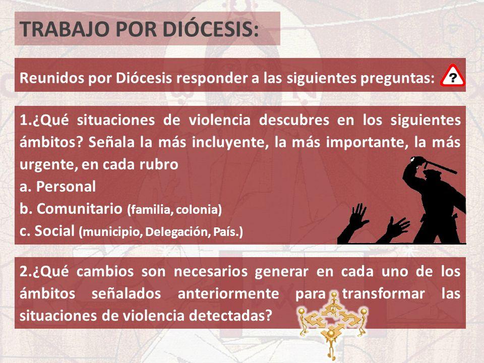 TRABAJO POR DIÓCESIS: Reunidos por Diócesis responder a las siguientes preguntas: