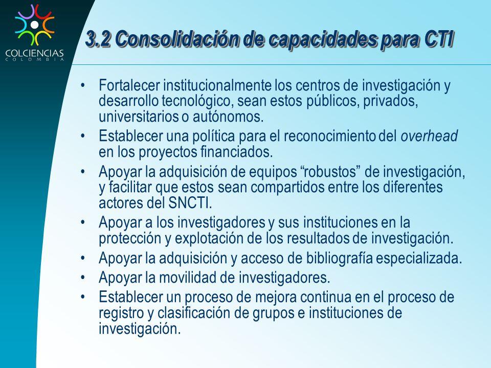 3.2 Consolidación de capacidades para CTI