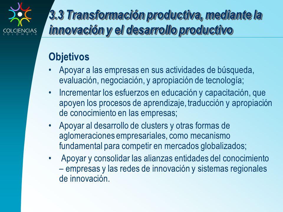 3.3 Transformación productiva, mediante la innovación y el desarrollo productivo