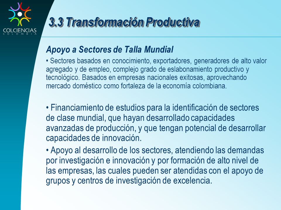 3.3 Transformación Productiva