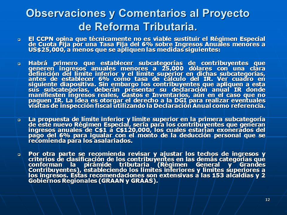 Observaciones y Comentarios al Proyecto de Reforma Tributaria.