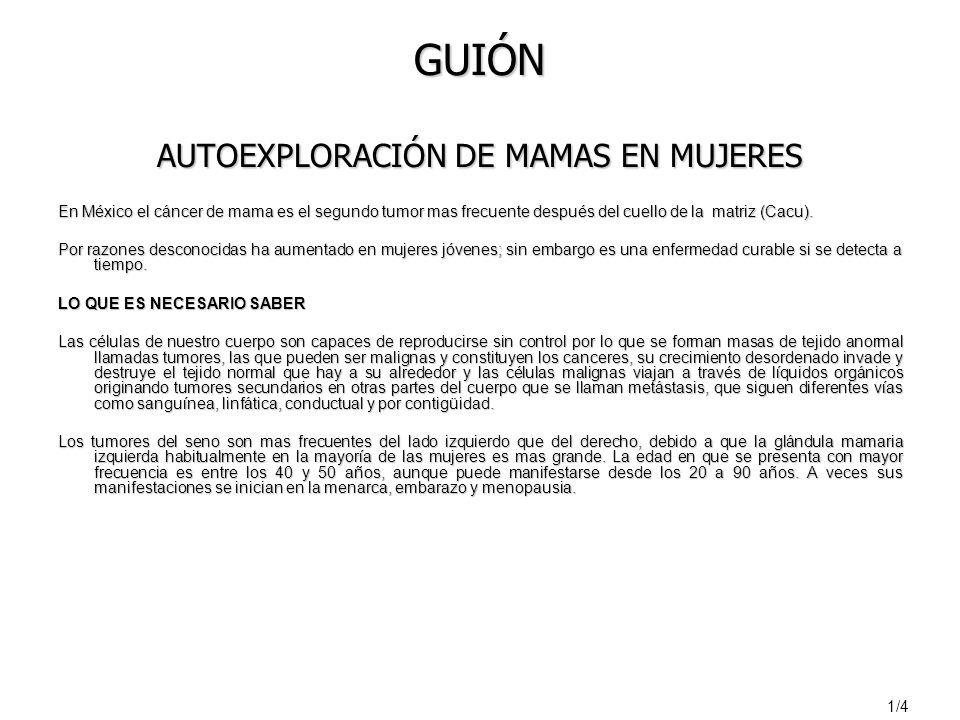 GUIÓN AUTOEXPLORACIÓN DE MAMAS EN MUJERES