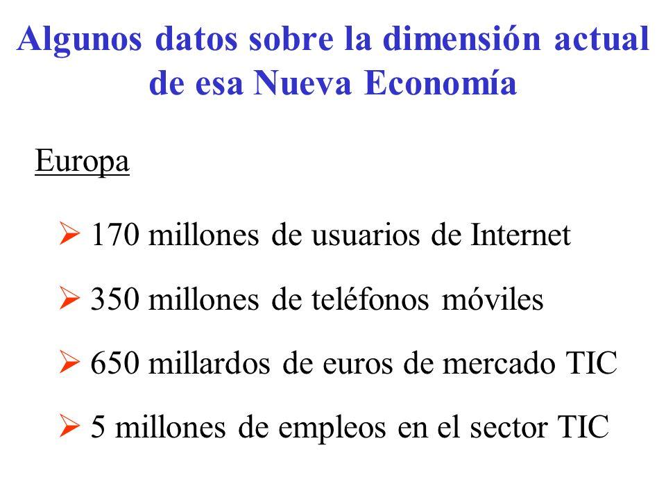 Algunos datos sobre la dimensión actual de esa Nueva Economía