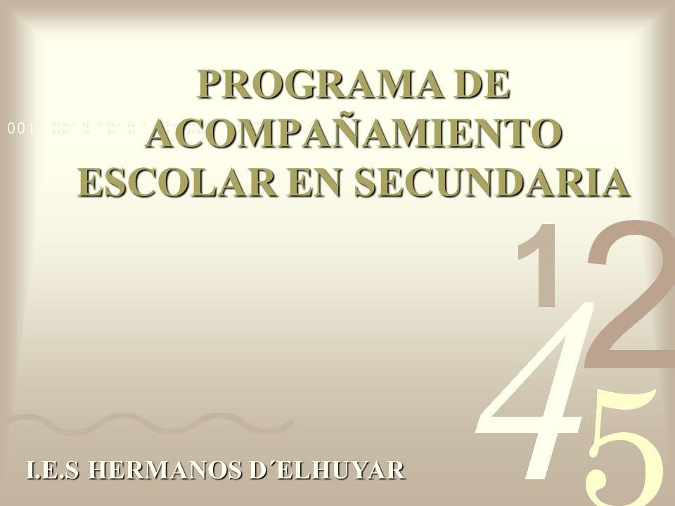 PROGRAMA DE ACOMPAÑAMIENTO ESCOLAR EN SECUNDARIA