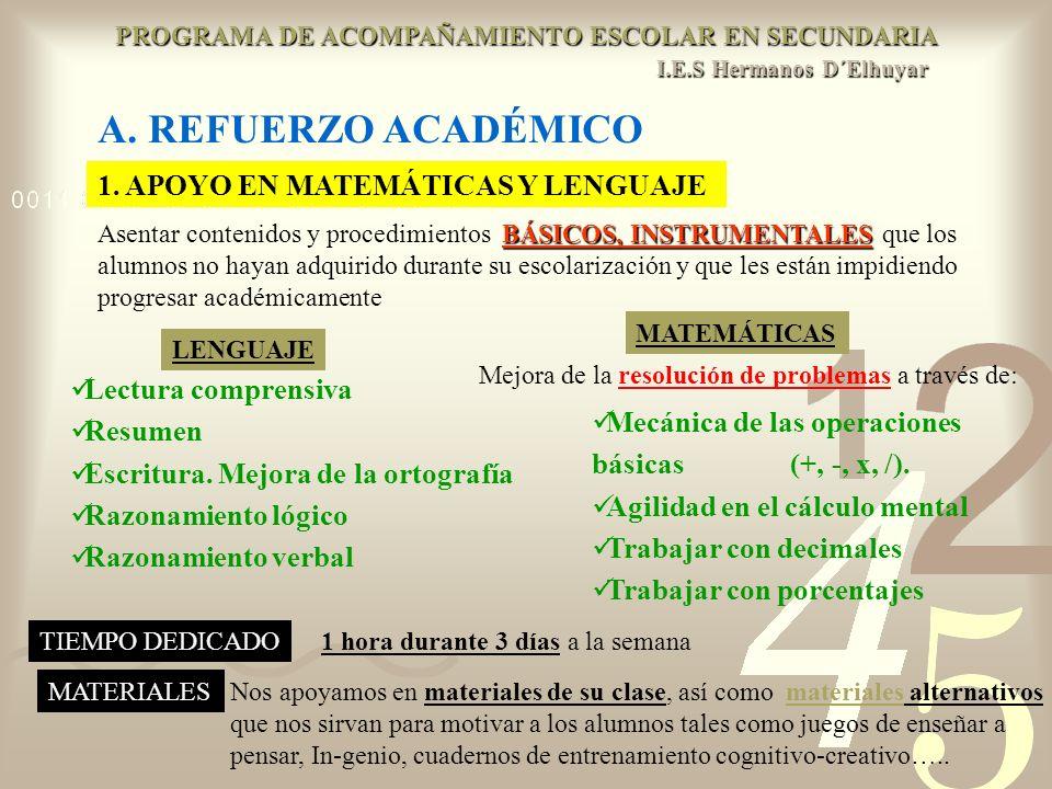 A. REFUERZO ACADÉMICO 1. APOYO EN MATEMÁTICAS Y LENGUAJE