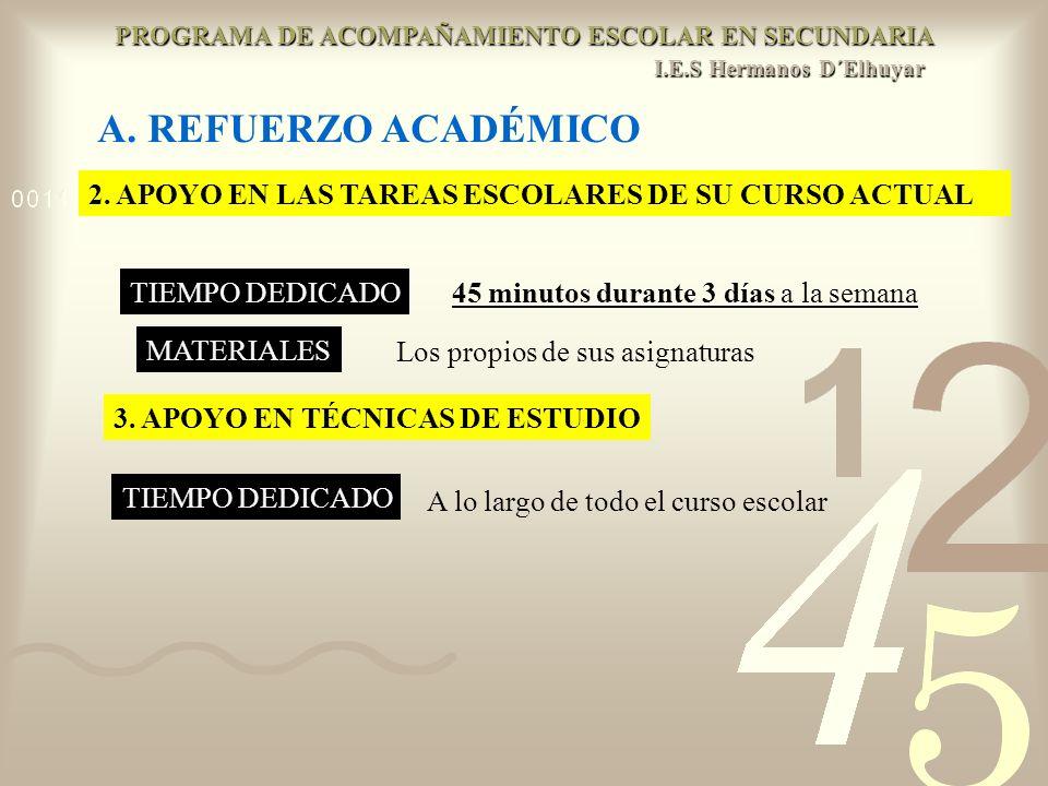 PROGRAMA DE ACOMPAÑAMIENTO ESCOLAR EN SECUNDARIA I. E