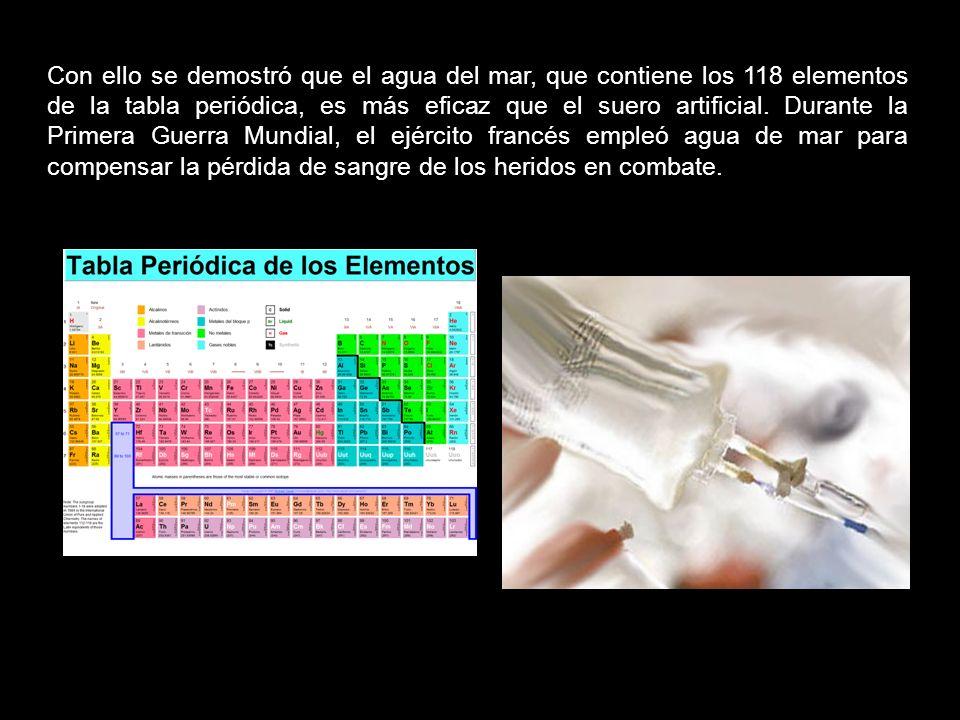 Con ello se demostró que el agua del mar, que contiene los 118 elementos de la tabla periódica, es más eficaz que el suero artificial.