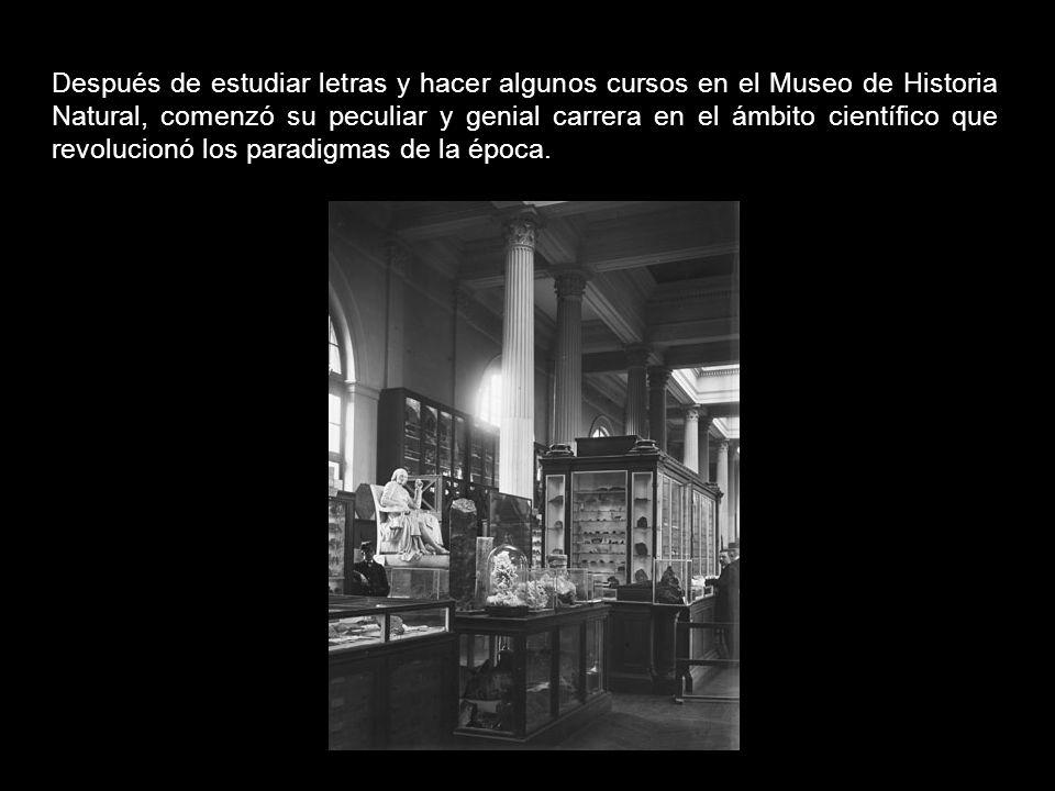 Después de estudiar letras y hacer algunos cursos en el Museo de Historia Natural, comenzó su peculiar y genial carrera en el ámbito científico que revolucionó los paradigmas de la época.