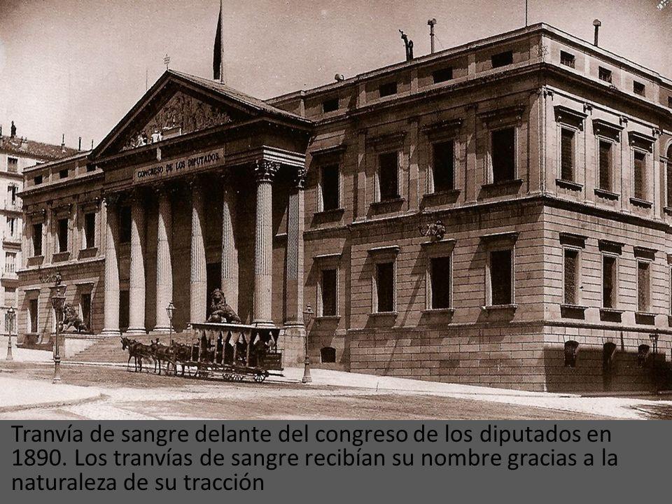 Tranvía de sangre delante del congreso de los diputados en 1890