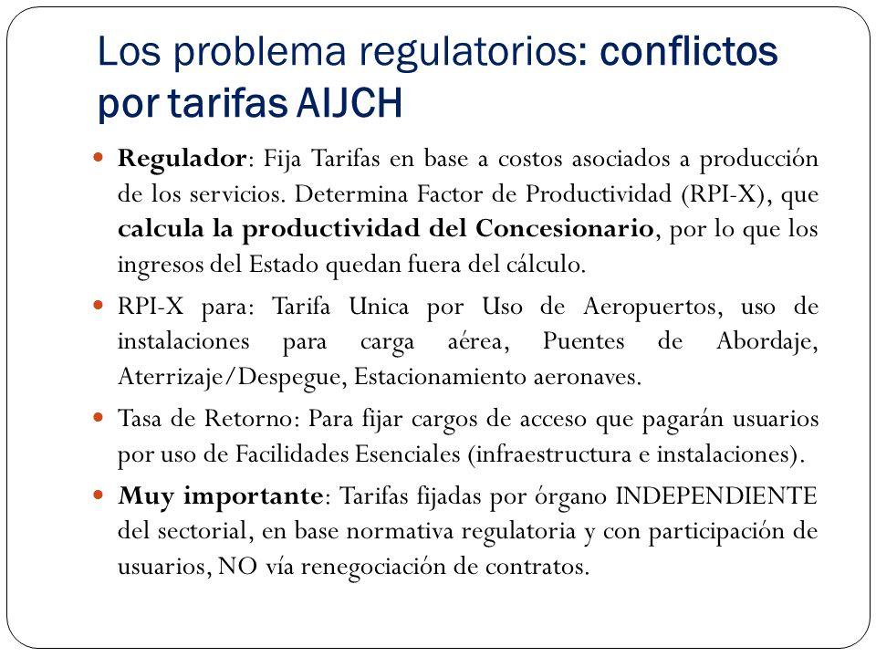 Los problema regulatorios: conflictos por tarifas AIJCH