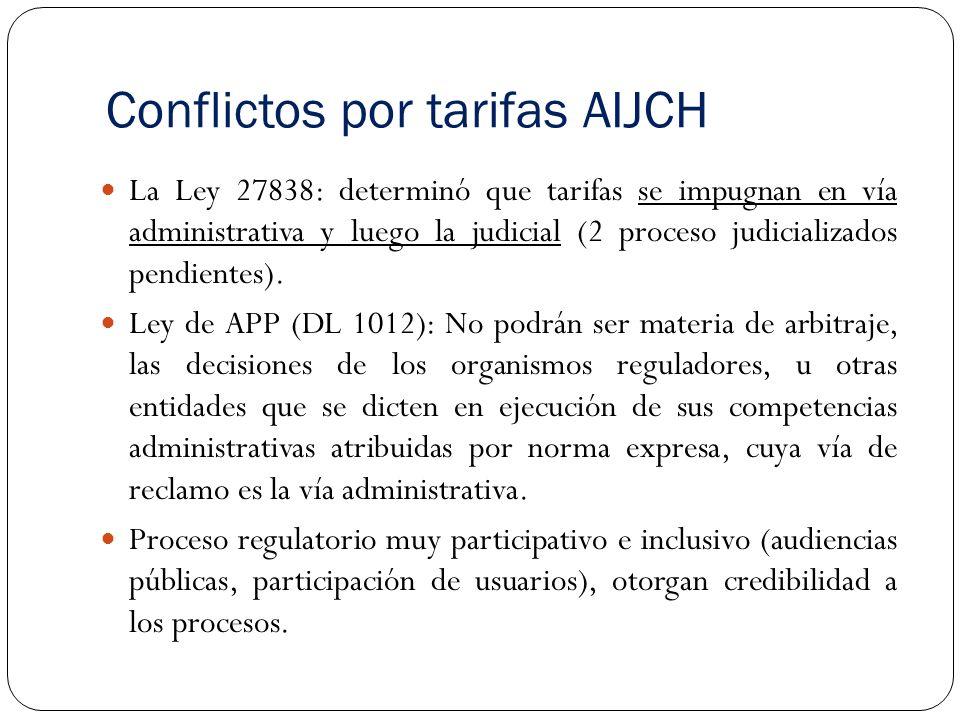 Conflictos por tarifas AIJCH