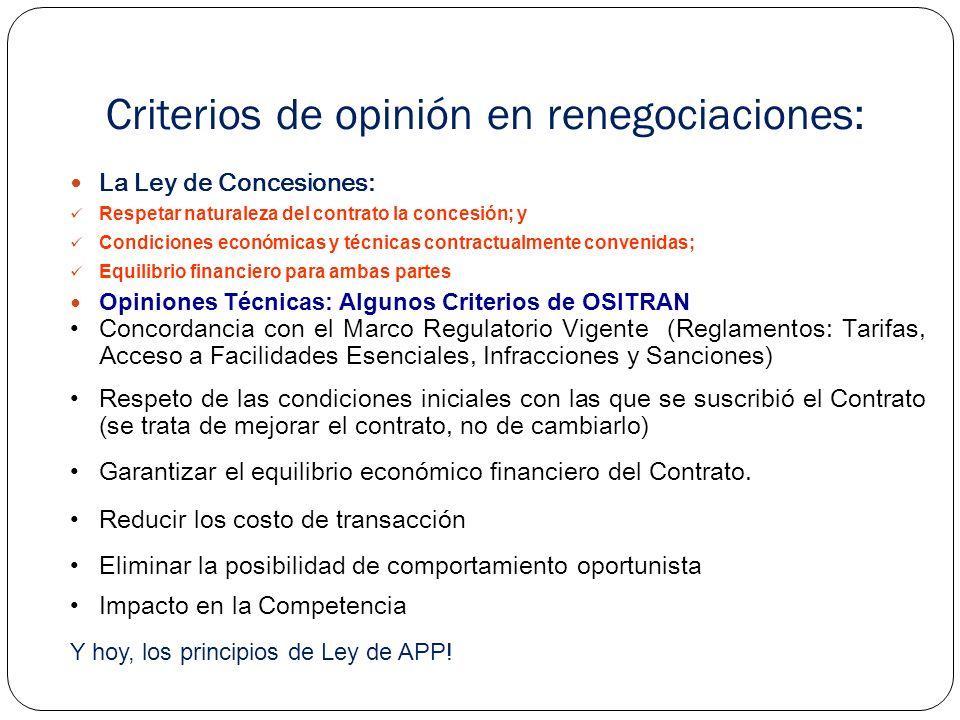 Criterios de opinión en renegociaciones: