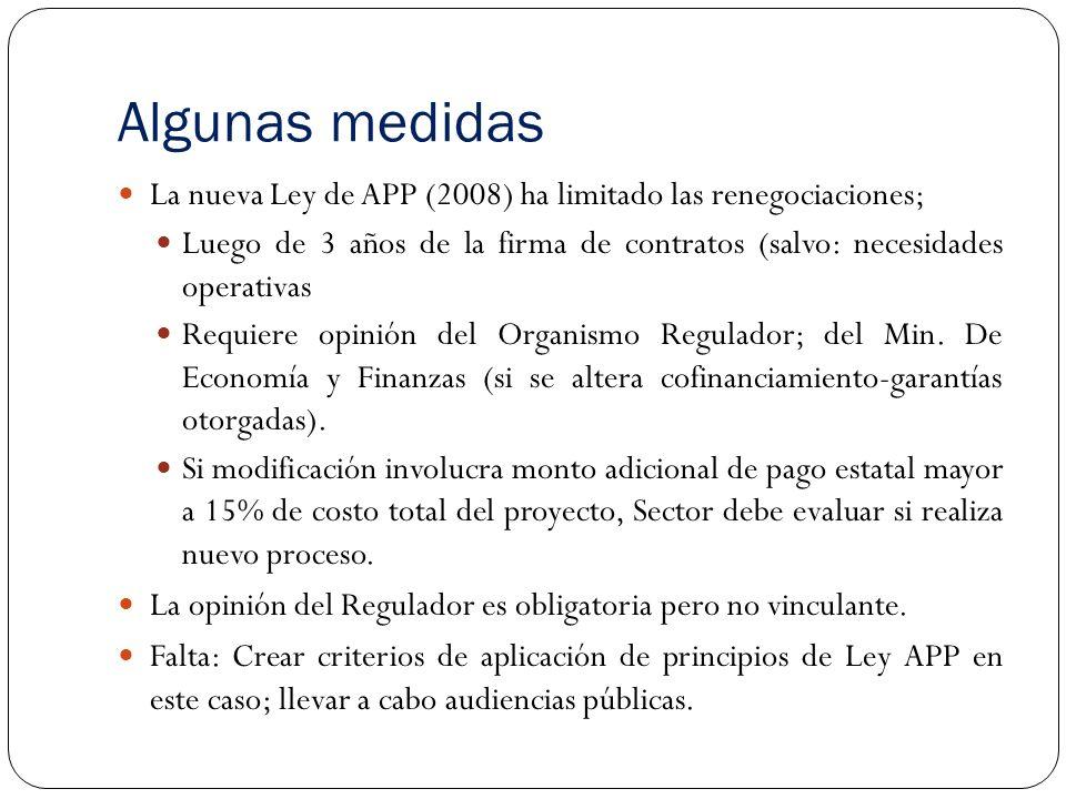 Algunas medidas La nueva Ley de APP (2008) ha limitado las renegociaciones; Luego de 3 años de la firma de contratos (salvo: necesidades operativas.