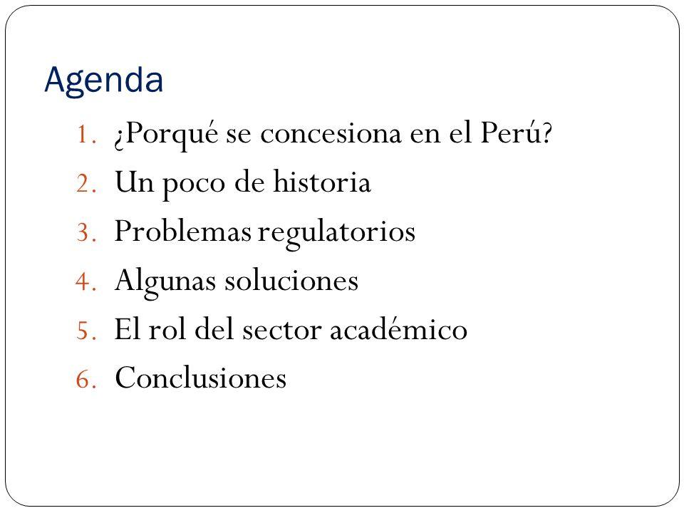 Agenda ¿Porqué se concesiona en el Perú Un poco de historia