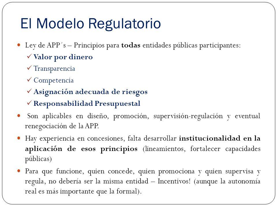 El Modelo Regulatorio Ley de APP´s – Principios para todas entidades públicas participantes: Valor por dinero.