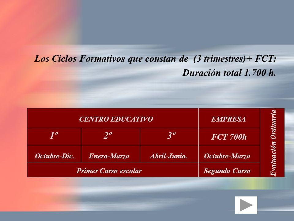 Los Ciclos Formativos que constan de (3 trimestres)+ FCT: