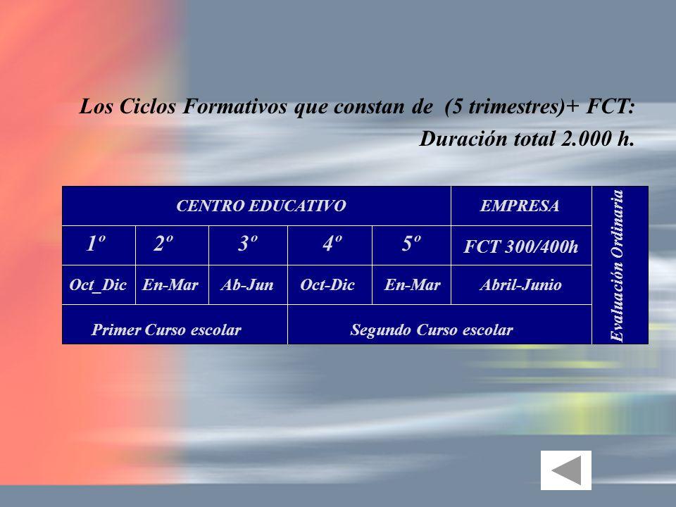 Los Ciclos Formativos que constan de (5 trimestres)+ FCT: