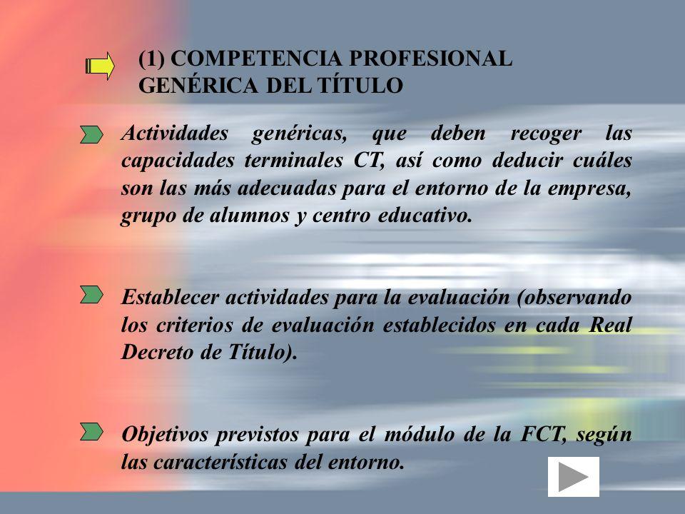 (1) COMPETENCIA PROFESIONAL GENÉRICA DEL TÍTULO