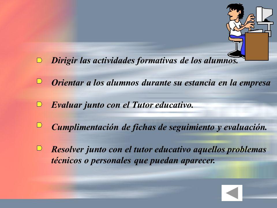 Dirigir las actividades formativas de los alumnos.