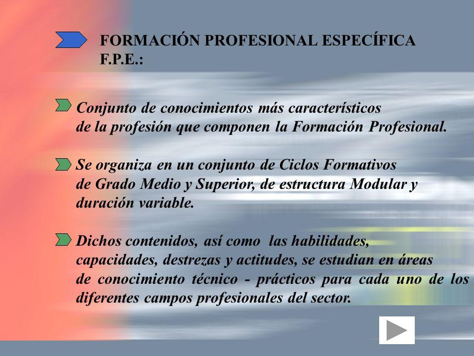 FORMACIÓN PROFESIONAL ESPECÍFICA F.P.E.: