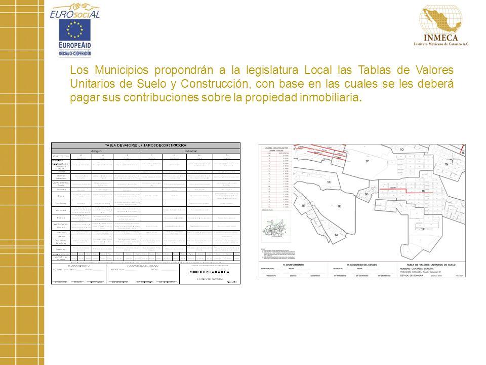 Los Municipios propondrán a la legislatura Local las Tablas de Valores Unitarios de Suelo y Construcción, con base en las cuales se les deberá pagar sus contribuciones sobre la propiedad inmobiliaria.