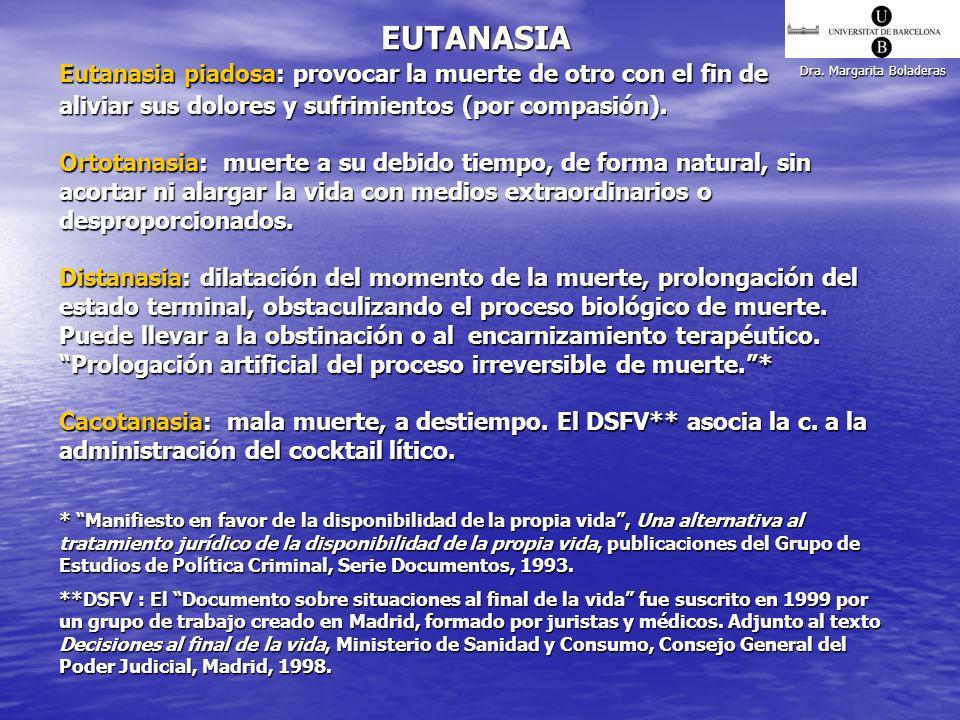EUTANASIA Eutanasia piadosa: provocar la muerte de otro con el fin de
