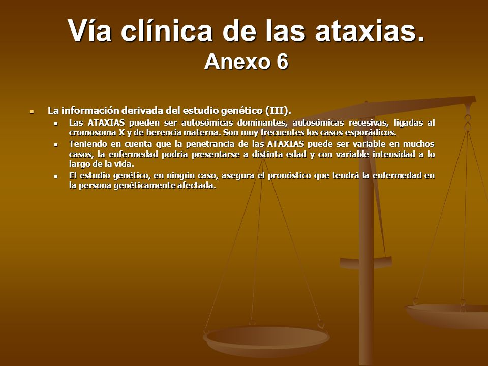 Vía clínica de las ataxias. Anexo 6