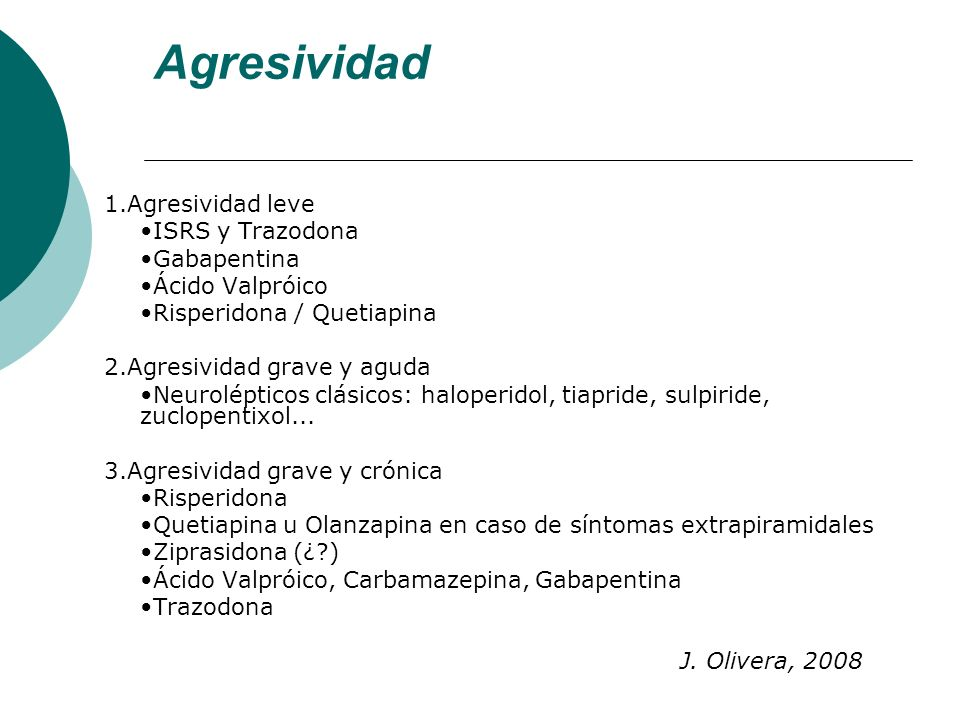 Agresividad 1.Agresividad leve •ISRS y Trazodona •Gabapentina