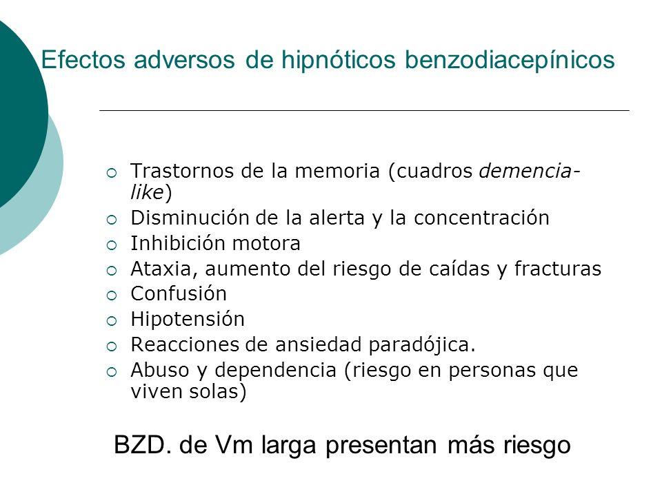Efectos adversos de hipnóticos benzodiacepínicos