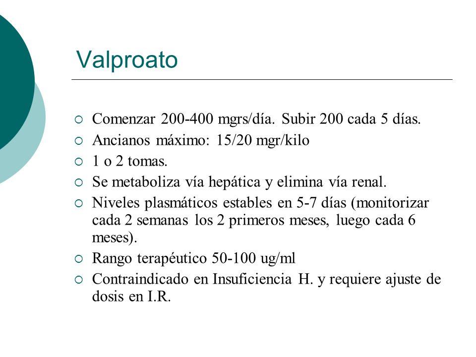 Valproato Comenzar 200-400 mgrs/día. Subir 200 cada 5 días.