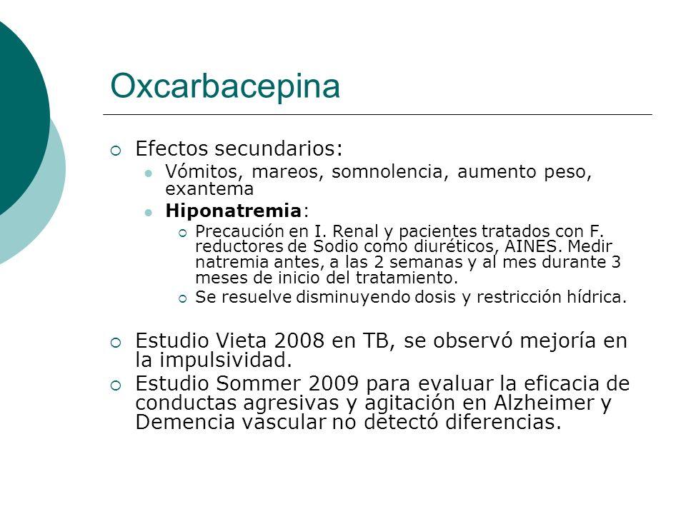 Oxcarbacepina Efectos secundarios: