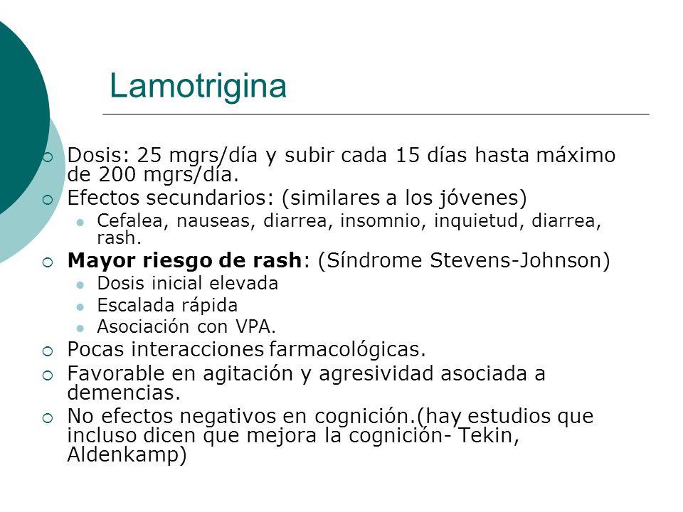 Lamotrigina Dosis: 25 mgrs/día y subir cada 15 días hasta máximo de 200 mgrs/día. Efectos secundarios: (similares a los jóvenes)