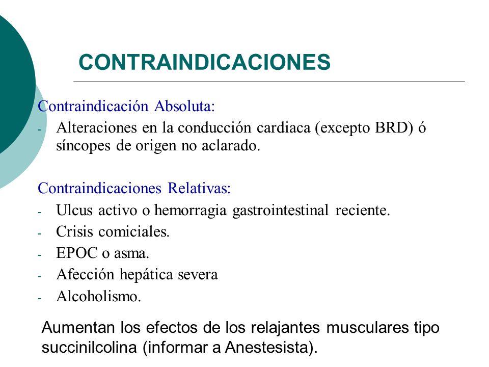 CONTRAINDICACIONES Contraindicación Absoluta: