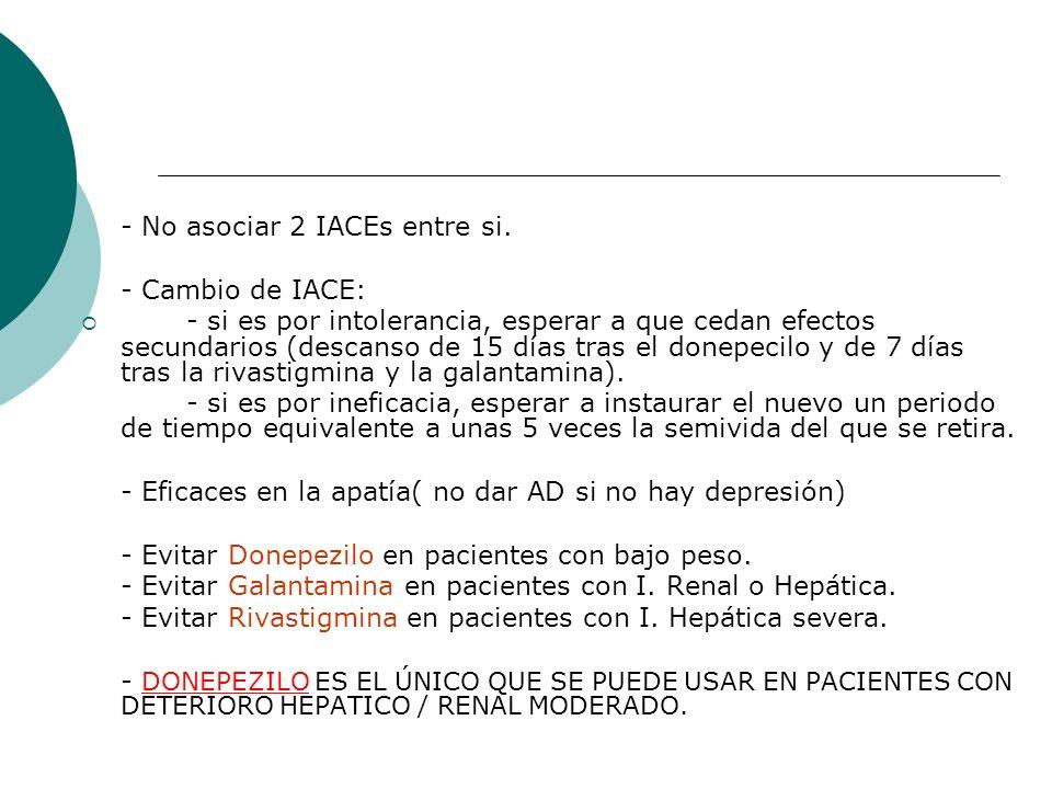 - No asociar 2 IACEs entre si.