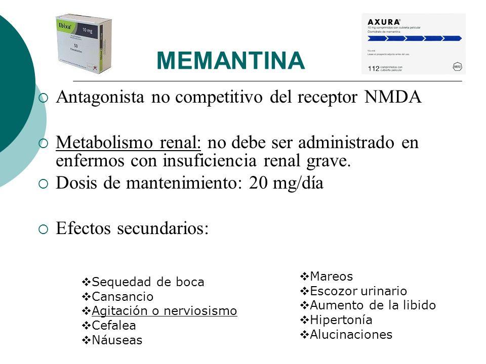 MEMANTINA Antagonista no competitivo del receptor NMDA