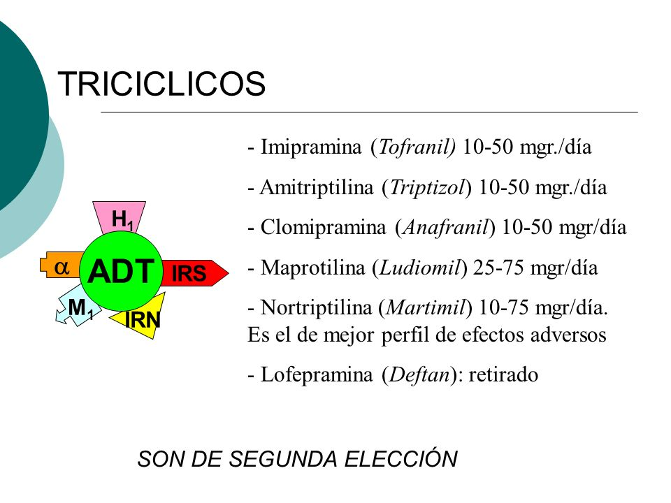 TRICICLICOS ADT  Imipramina (Tofranil) 10-50 mgr./día