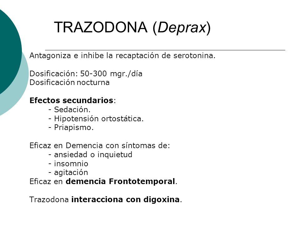 TRAZODONA (Deprax) Antagoniza e inhibe la recaptación de serotonina.