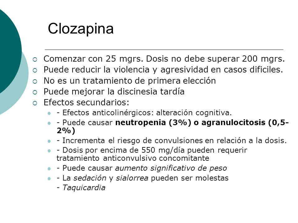 Clozapina Comenzar con 25 mgrs. Dosis no debe superar 200 mgrs.