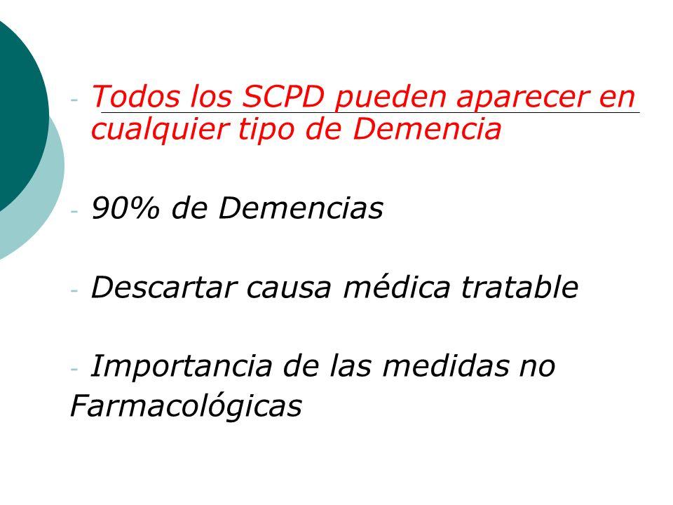 Todos los SCPD pueden aparecer en cualquier tipo de Demencia
