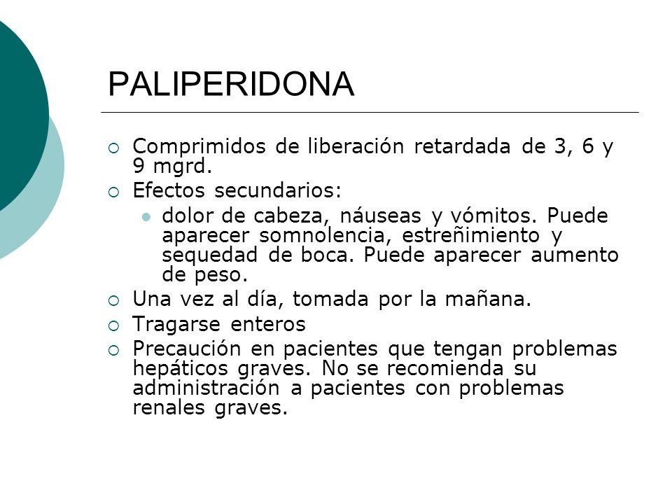 PALIPERIDONA Comprimidos de liberación retardada de 3, 6 y 9 mgrd.