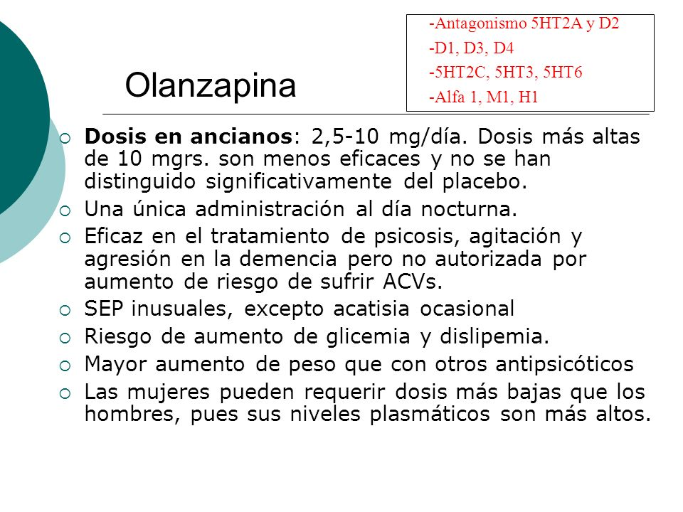 Antagonismo 5HT2A y D2 D1, D3, D4. 5HT2C, 5HT3, 5HT6. Alfa 1, M1, H1. Olanzapina.