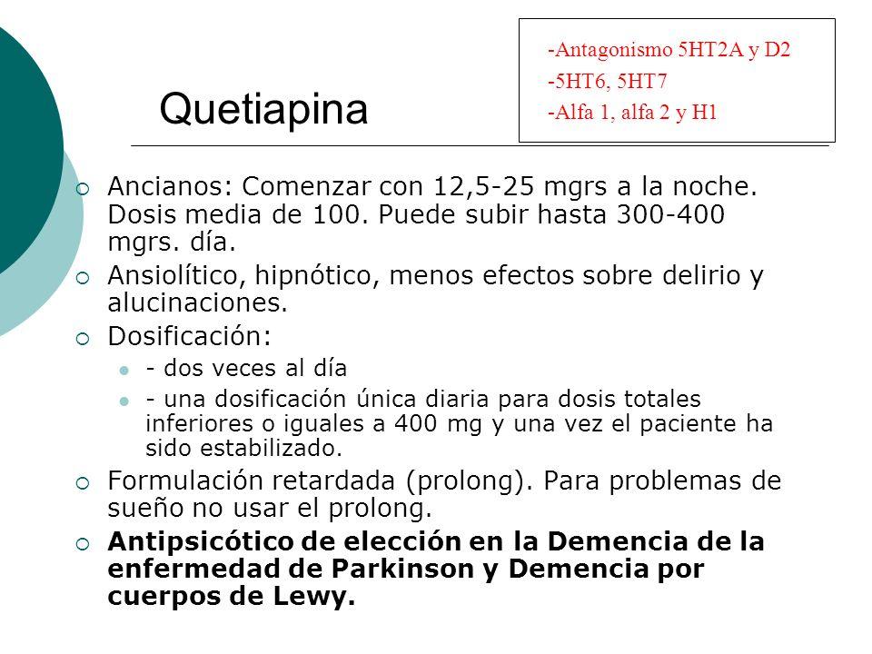 Quetiapina Antagonismo 5HT2A y D2. 5HT6, 5HT7. Alfa 1, alfa 2 y H1.