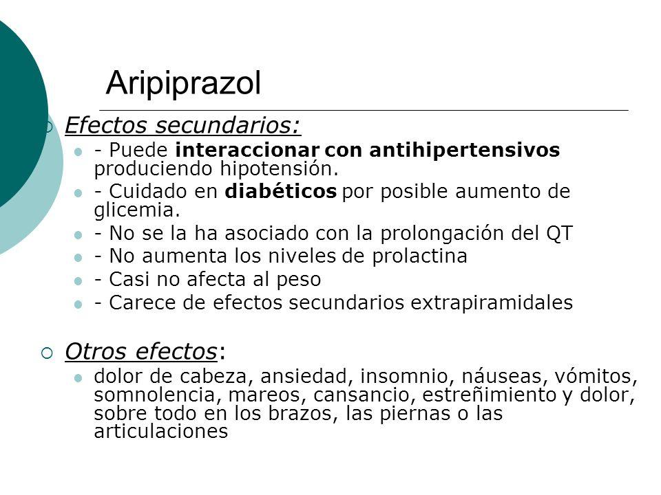 Aripiprazol Efectos secundarios: Otros efectos: