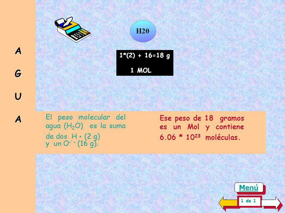 A G U A El peso molecular del agua (H2O) es la suma de dos H + (2 g)