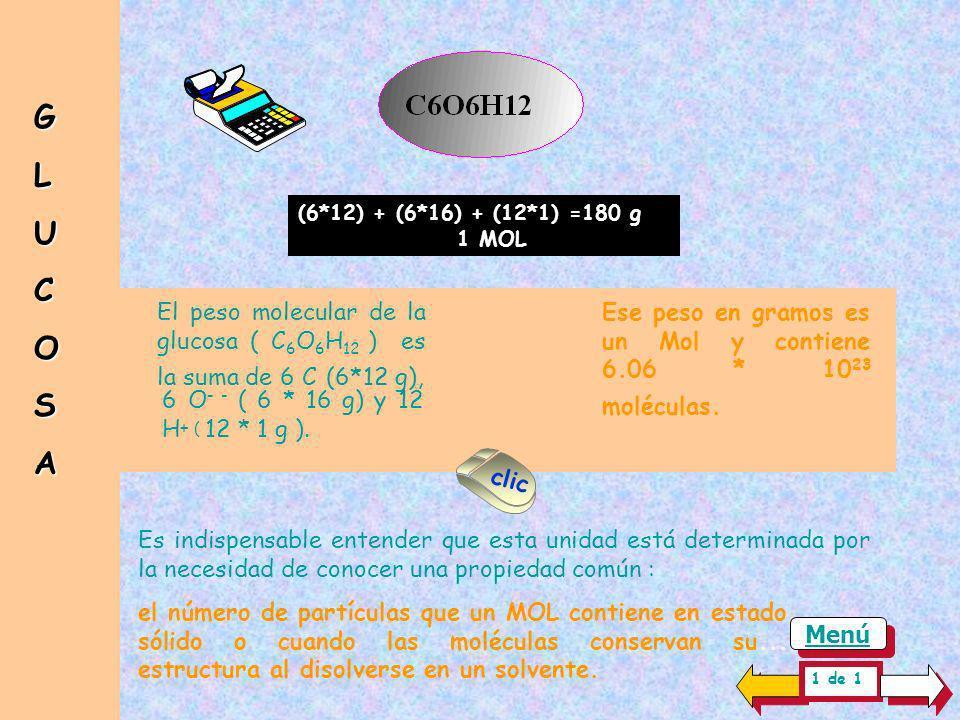 G L. U. C. O. S. A. (6*12) + (6*16) + (12*1) =180 g. 1 MOL. El peso molecular de la glucosa ( C6O6H12 ) es la suma de 6 C (6*12 g),
