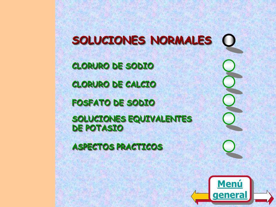 SOLUCIONES NORMALES Menú general CLORURO DE SODIO CLORURO DE CALCIO