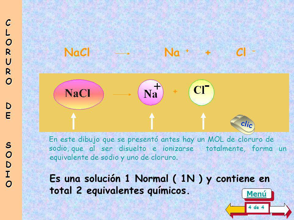 CLORUR O DE. SODIO. NaCl Na + + Cl - + clic. En este dibujo que se presentó antes hay un MOL de cloruro de sodio,