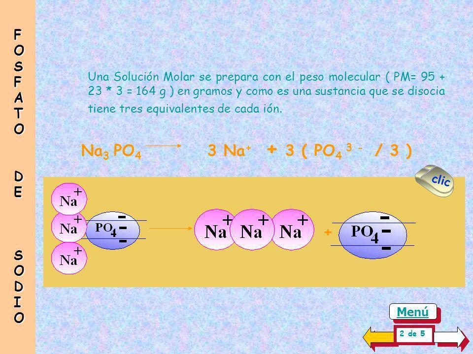 Na3 PO4 3 Na+ + 3 ( PO4 3 - / 3 ) + FOSFATO DE SODIO